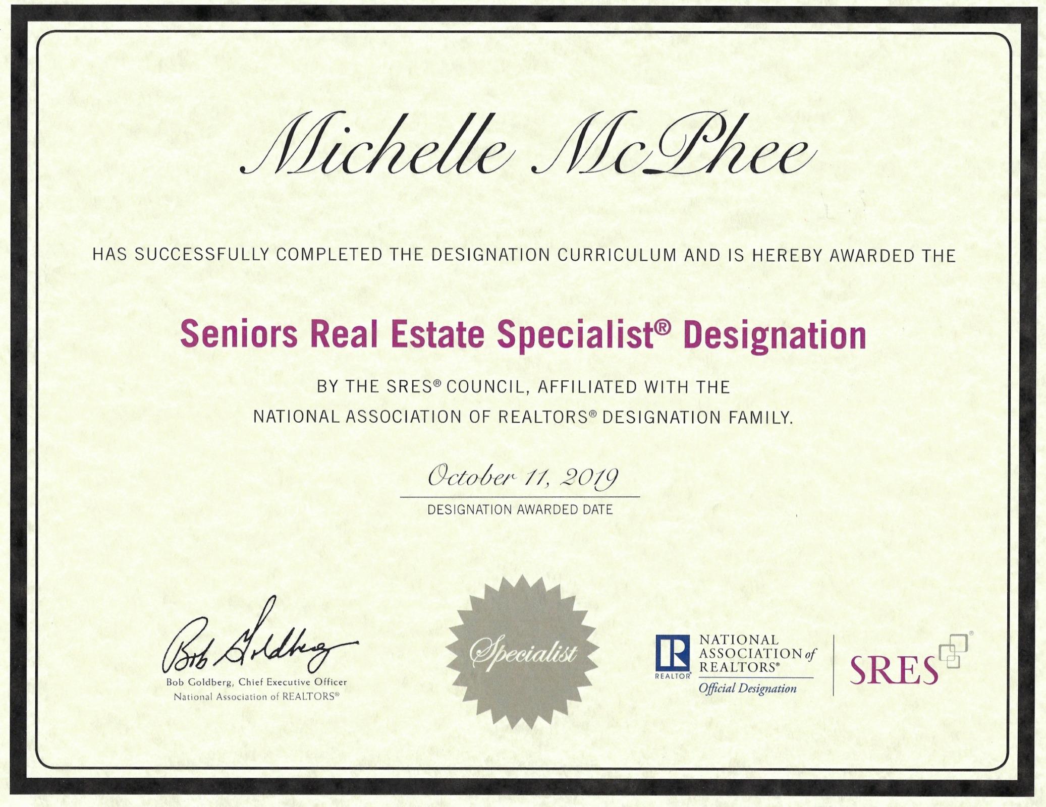 Michelle McPhee SRES Designation Certificate.jpg